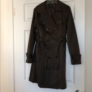 bebe trench mossy brown medium fully lined